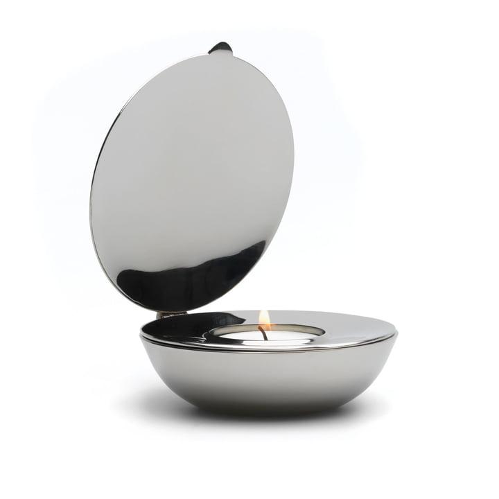 Design House Stockholm - Shell Teelichthalter in Nickel/Chrom