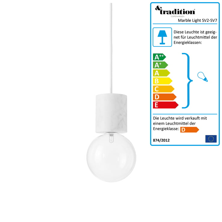 &Tradition - Marble Light SV2 Pendelleuchte in Weiß