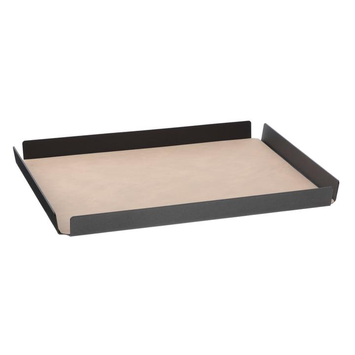 LindDNA - Tray Square aluminium Double Cloud/Nupo L 36 x 46 cm, anthrazit / sand
