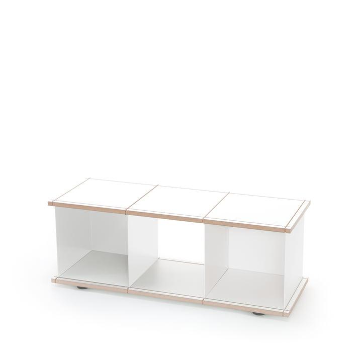 YU Set 1 von Konstantin Slawinski aus MDF in Weiß und gebürstetem Stahl
