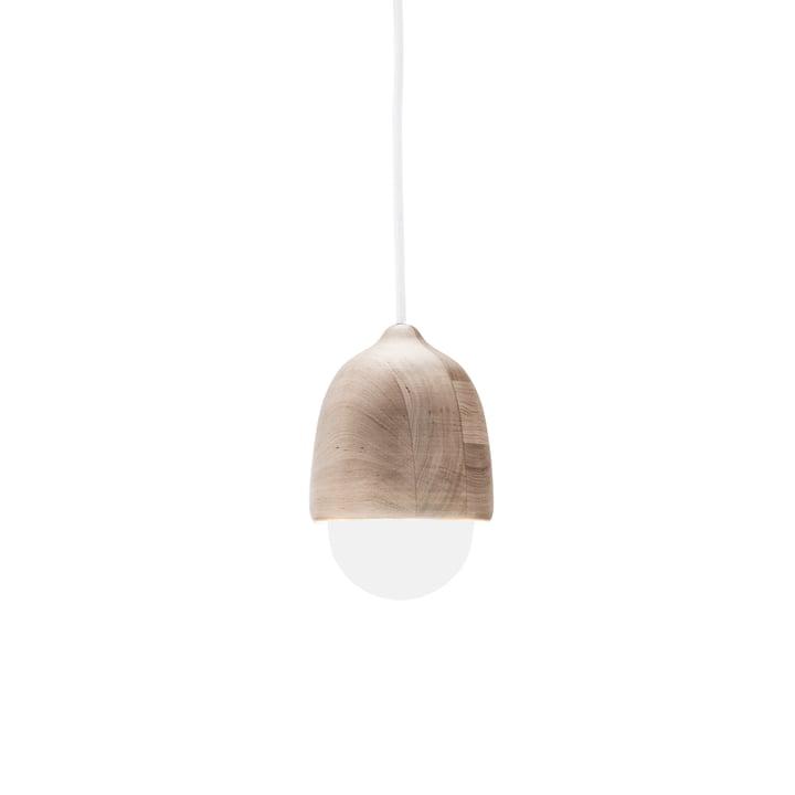 Mater - Terho Pendelleuchte, Ø 13,5 x H 21,5 cm, Erlenholz / weiß