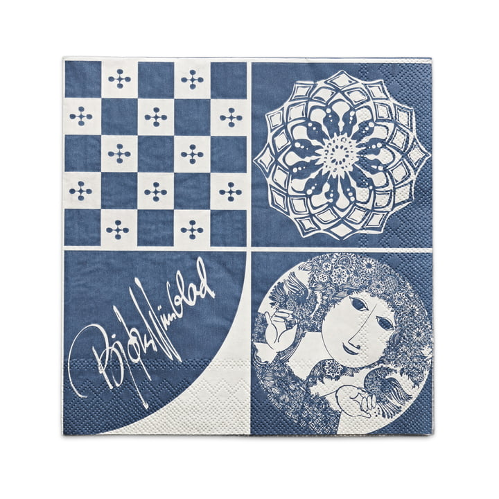 Bjørn Wiinblad - Papierservietten 40 x 40 cm, blau