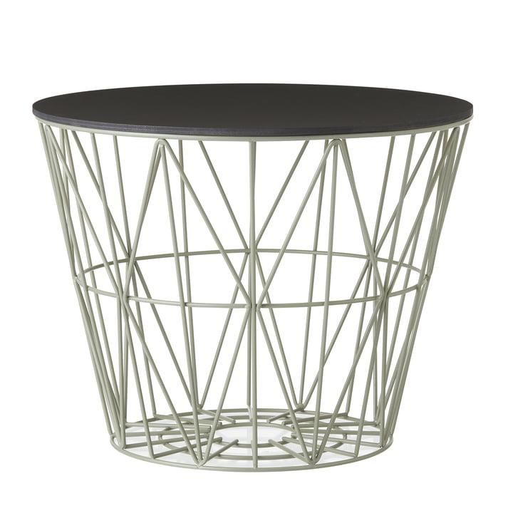 Wire Basket in Dusty Green mit Top in Schwarz gebeizt von ferm Living