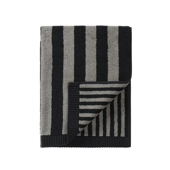Marimekko - Kaksi Raitaa Handtuch 50 x 100 cm, grau / schwarz