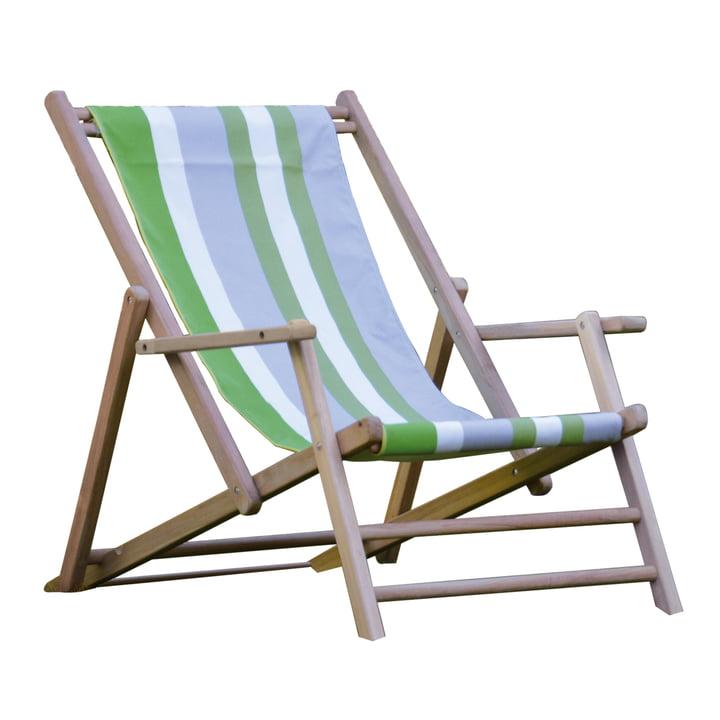 Jan Kurtz - Deckchair Teakholz, Bezug Designers Guild Streifen Tarifa Leaf