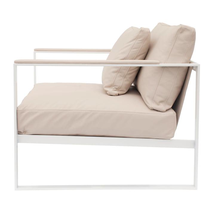 Monaco Lounge Chair von Röshults in Weiß mit Leder in Sand