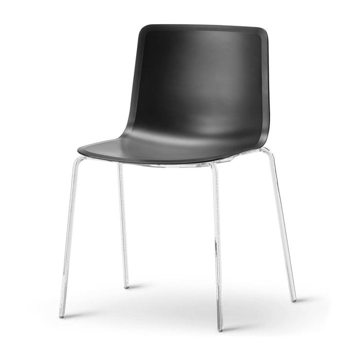 Pato 4 Beine Stuhl von Fredericia in Schwarz/Chrom