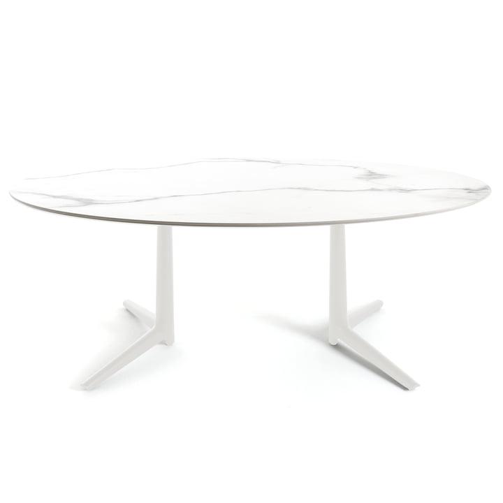 Ovaler Multiplo Esstisch 192 x 118 cm von Kartell aus Steingut Marmorstyl in Weiß