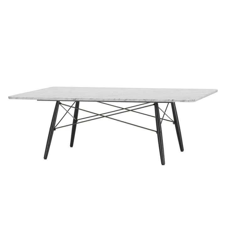 Der Eames Coffee Table in Marmor weiß mit einem in Untergestell Esche schwarz von Vitra