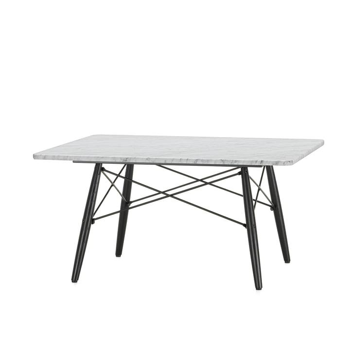 Der Eames Coffee Table square in Marmor weiß mit Untergestell in Esche schwarz