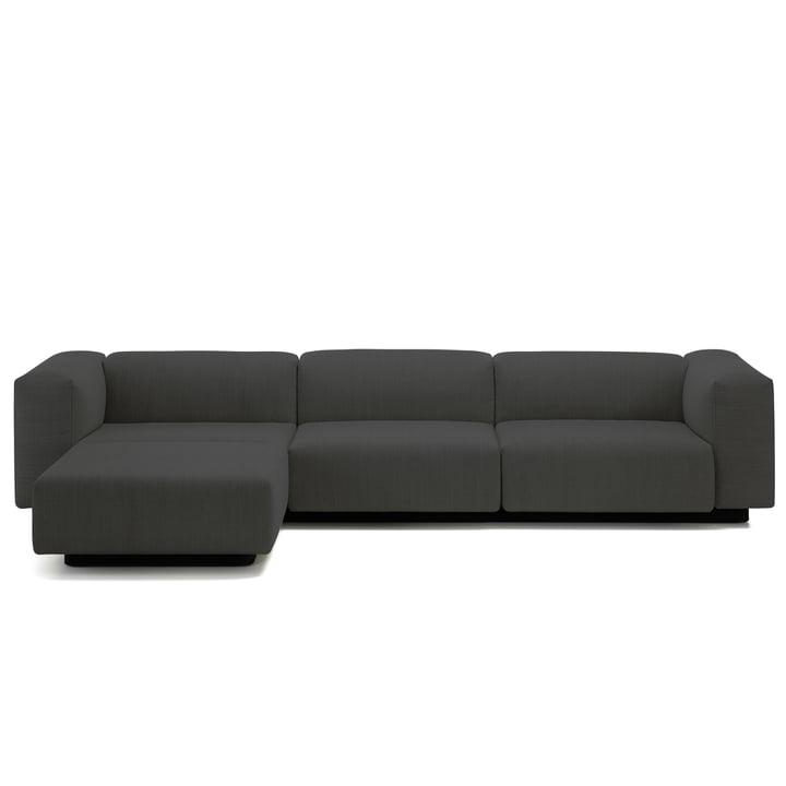 Soft Modular Sofa 3-Sitzer mit Chaiselongue von Vitra in Anthrazit (Laser 03)