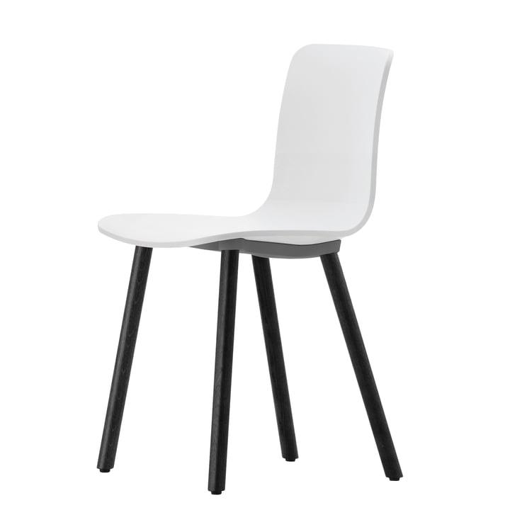 Vitra - Hal Wood Stuhl, weiß / Eiche dunkel / Filzgleiter