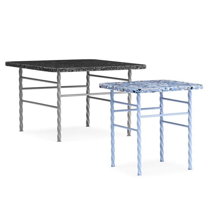 Terra Table groß in Grau und klein in Blau von Normann Copenhagen