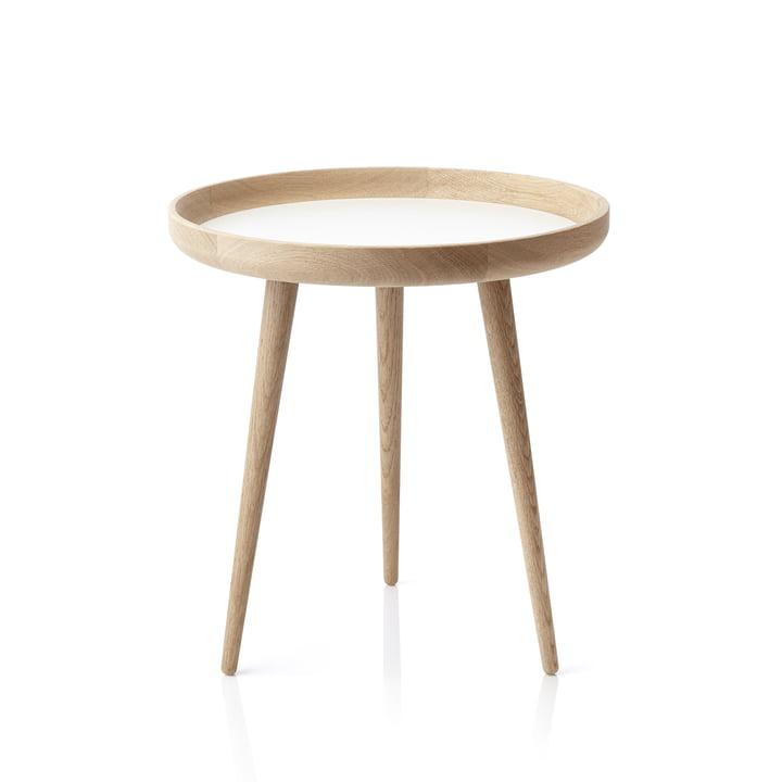 Der applicata - Tisch Ø 49 cm, Eichenholz / weißes Laminat
