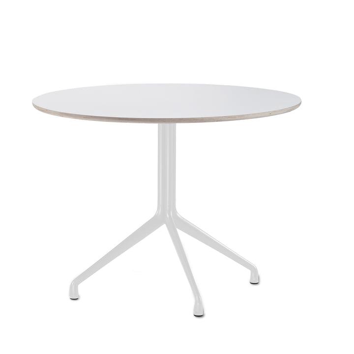 Hay - About A Table AAT 20 Esstisch, 3-beinig, Ø110 cm, weiß/weiß (Kunststoffgleiter)