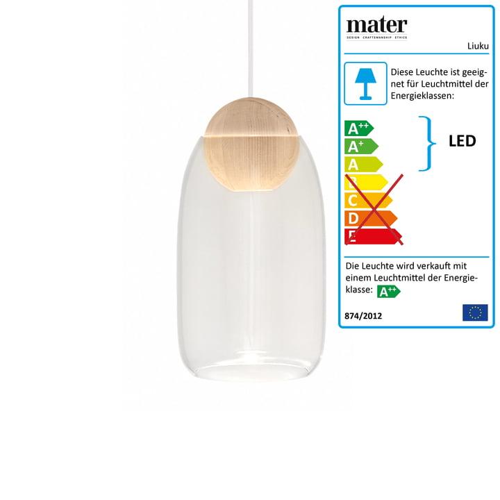 Liuku Pendelleuchte Ball von Mater in Erle / transparent