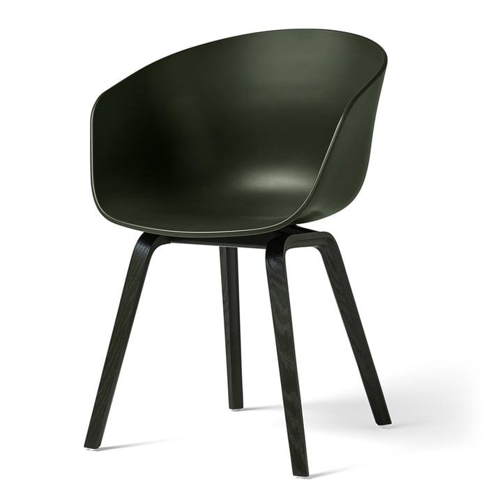 Hay - About A Chair AAC 22, Holz-Vierbeingestell, grün / grün (Filzgleiter)