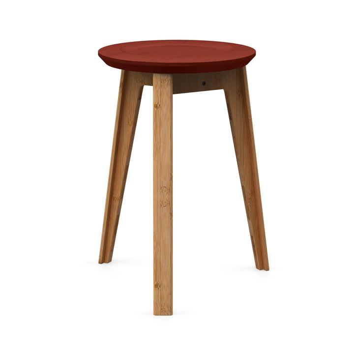 Button Stool von We Do Wood in Rust Red