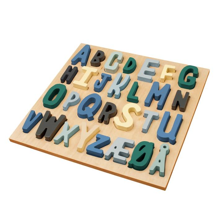 Wooden Puzzle ABC von Sebra in Blautönen