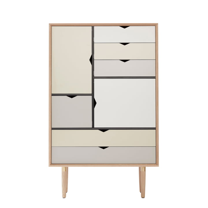 S5 Kommode von Andersen Furniture in Eiche geseift (Fronten Silber, Beige, Metallgrau)