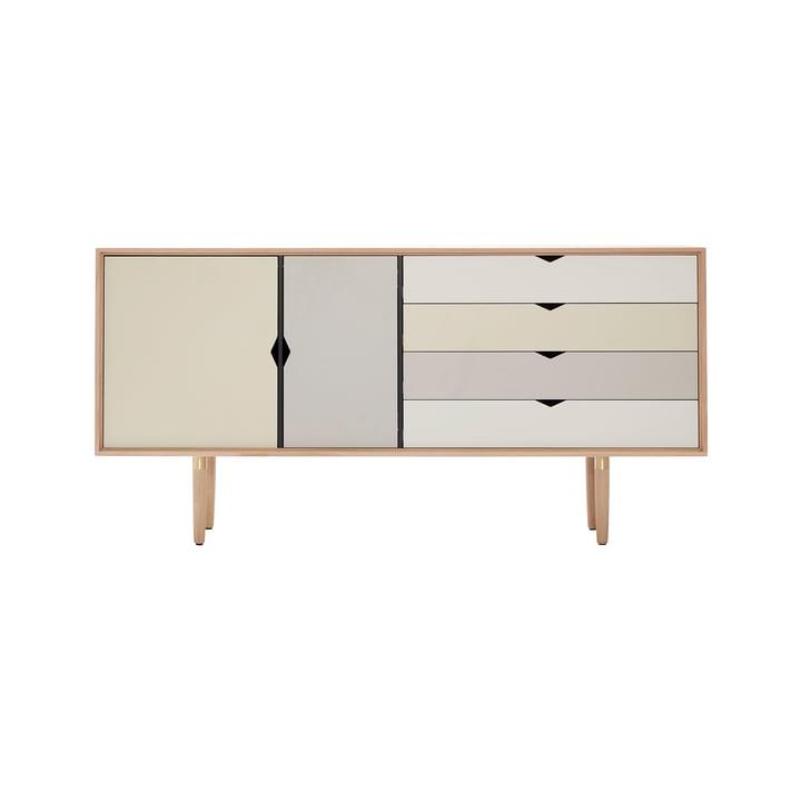 S6 Sideboard von Andersen Furniture in Eiche geseift (Fronten Silber, Beige, Metallgrau)