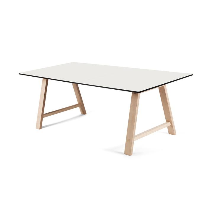 T1 Ausziehtisch 160cm von Andersen Furniture (Gestell Eiche geseifet, Tischplatte Laminat, weiß)