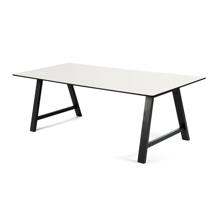 T1 Ausziehtisch 180 cm von Andersen Furniture (Gestell Eiche chwarz lackiert, Tischplatte Laminat, weiß)