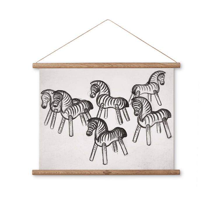 Zebra Zeichnung 40 x 30 cm von Kay Bojesen Denmark