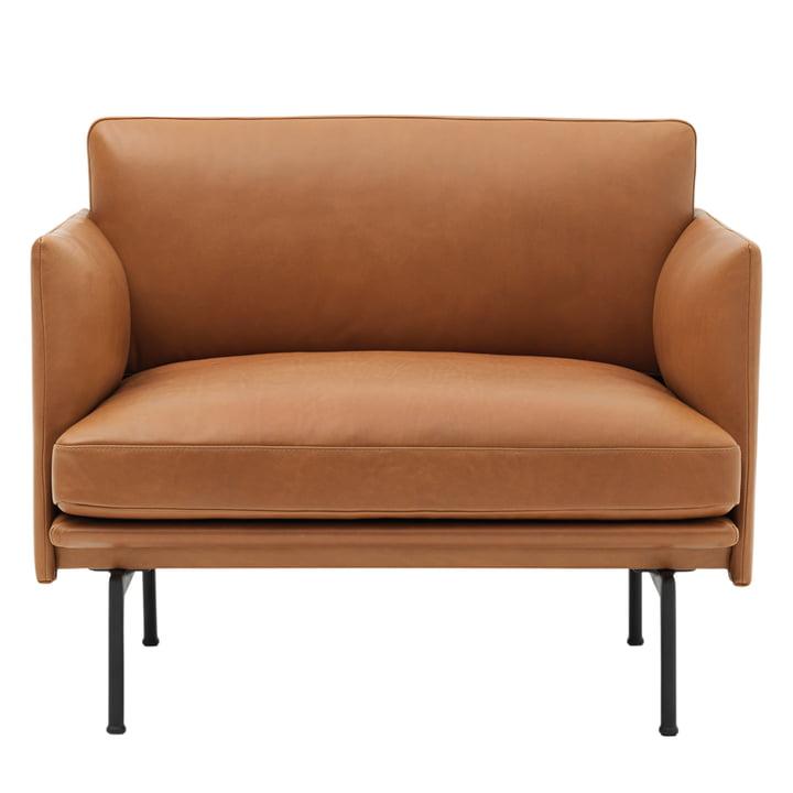 Muuto - Outline Sessel, Cognac silk leather / verkehrsschwarz (RAL 9017)