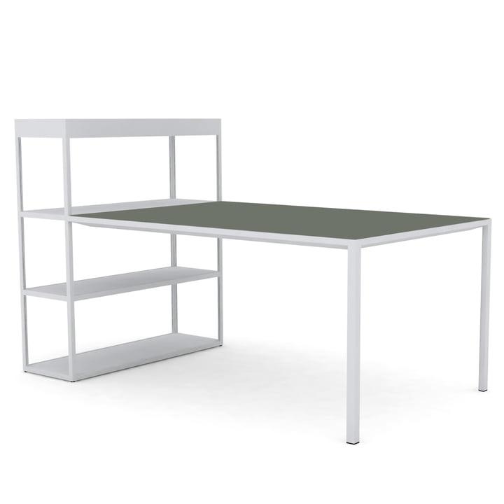 New Order Shelf with Table von Hay in Hellgrau / Linoleum Grün