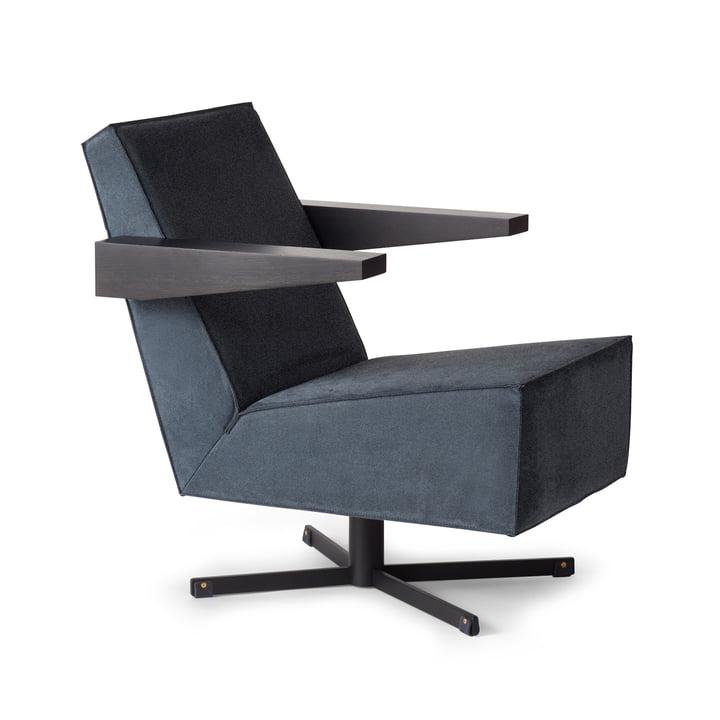 Spectrum - Press Room Chair, Bezug grau (Divina 3 / 154), Untergestell schwarz / Armlehnen schwarz / Fußband schwarz
