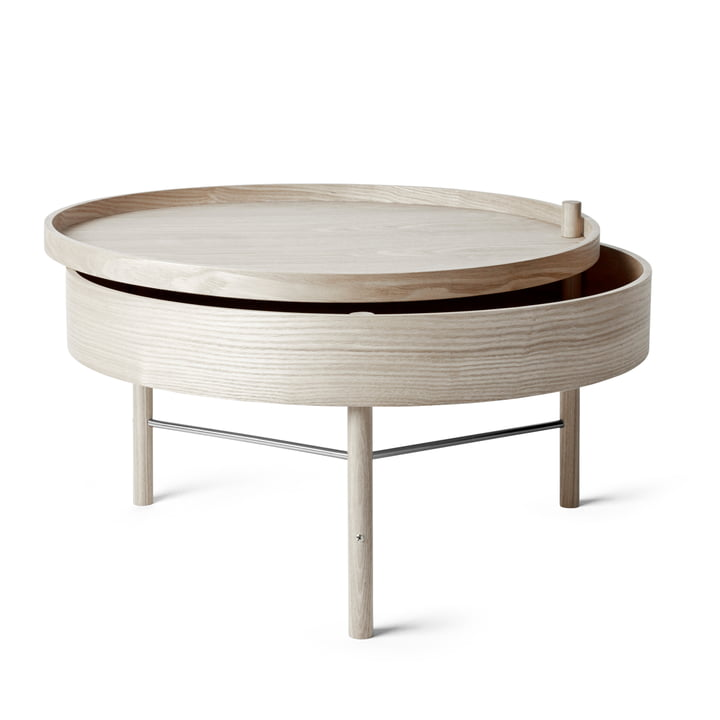 Turning Table von Menu in Eiche weiß / schwarze Chromstreben