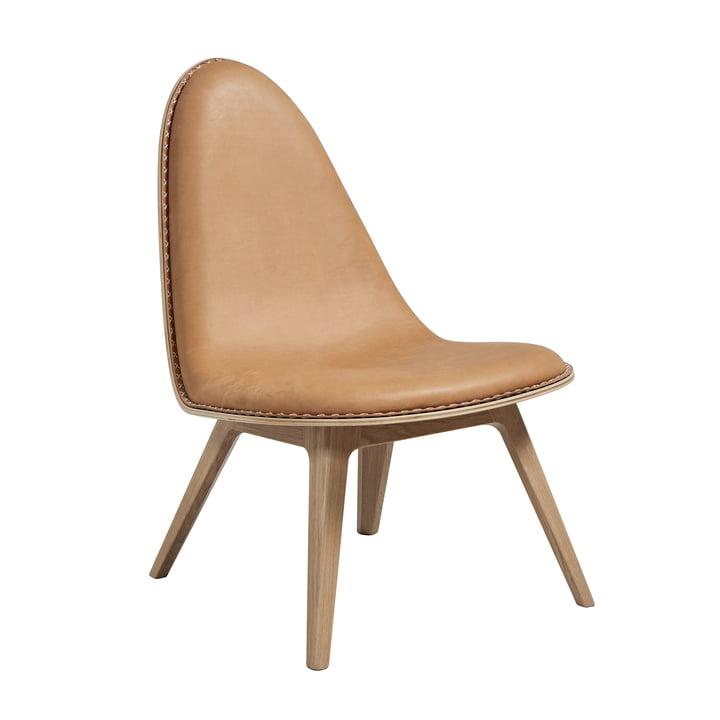 Nordic Lounge Chair von Sack it in Eiche hellgebeizt / Leder Cognac, mit Nähten