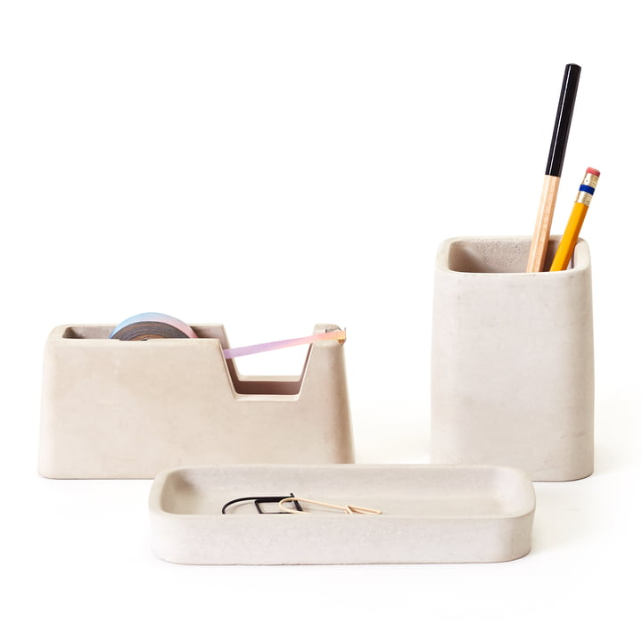 Areaware - Concrete Desk Set, grau (3tlg. Set)