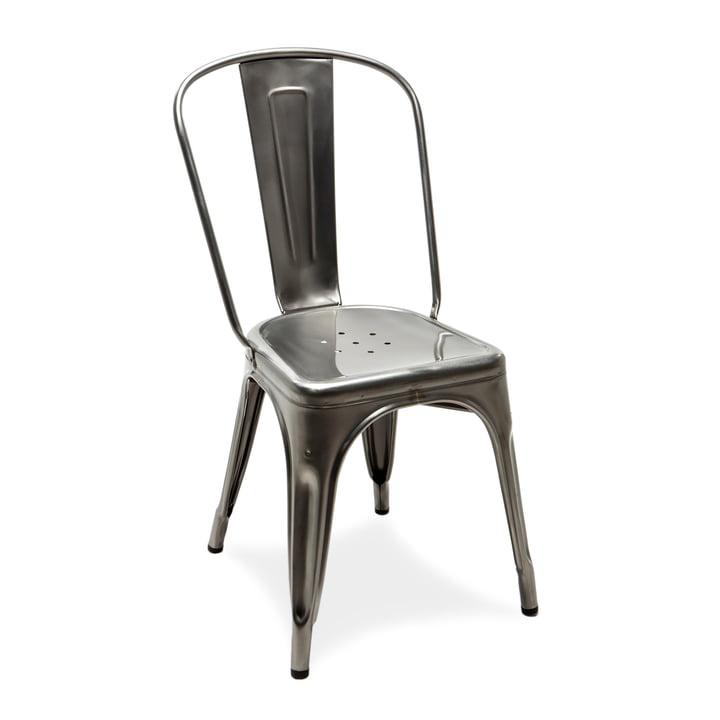 A Chair von Tolix aus glänzendem Stahl