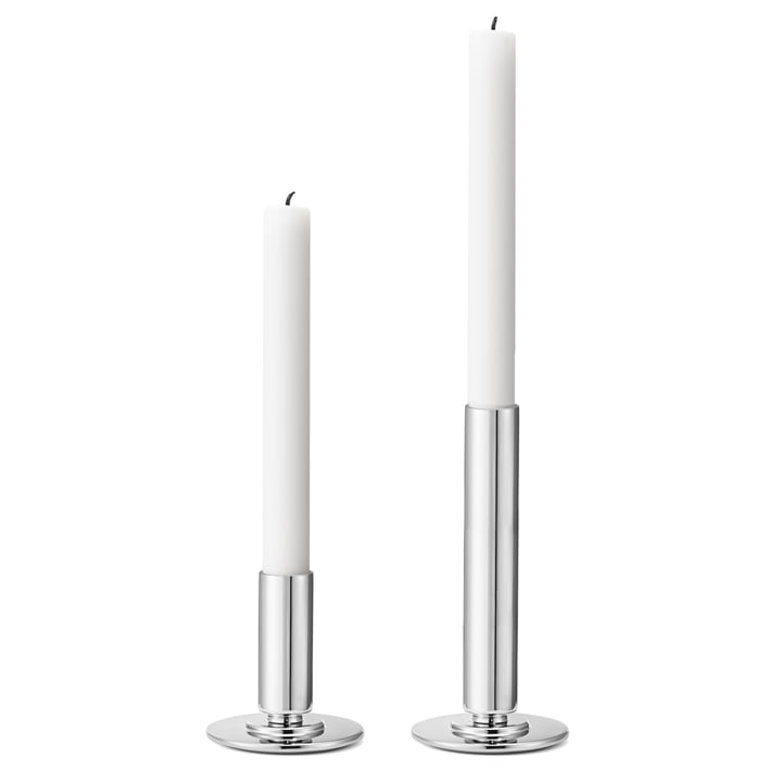 Manhattan Kerzenleuchter von Georg Jensen aus Edelstahl (2er-Set)