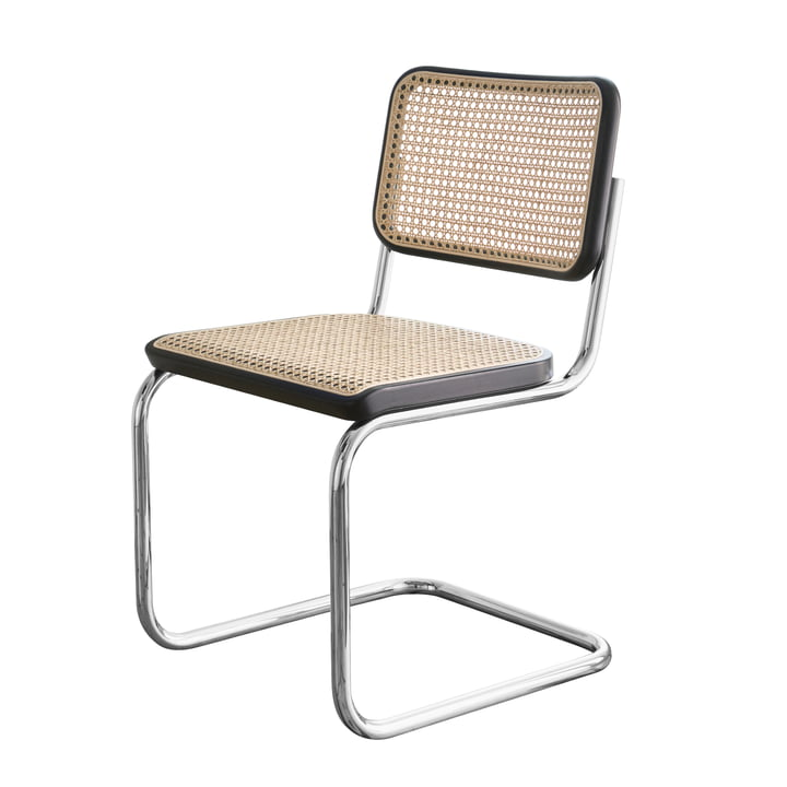 S 32 Stuhl von Thonet in Chrom / Buche Schwarz gebeizt (TP 29) / Rohrgeflecht