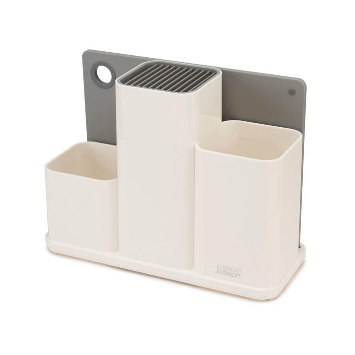 Der Joseph Joseph - CounterStore Küchenordnungshelfer mit Schneidebrett in weiß / grau