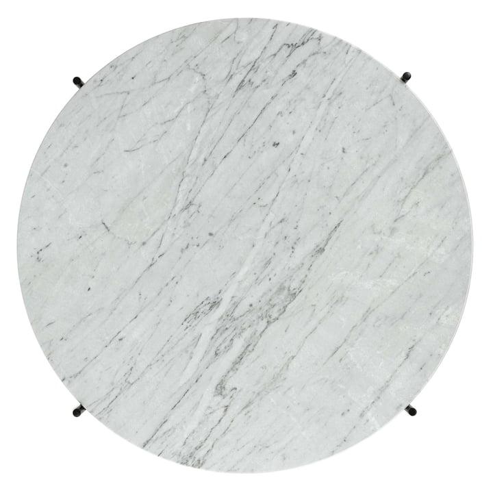 Weiße Marmorplatte des TS Couchtischs von Gubi