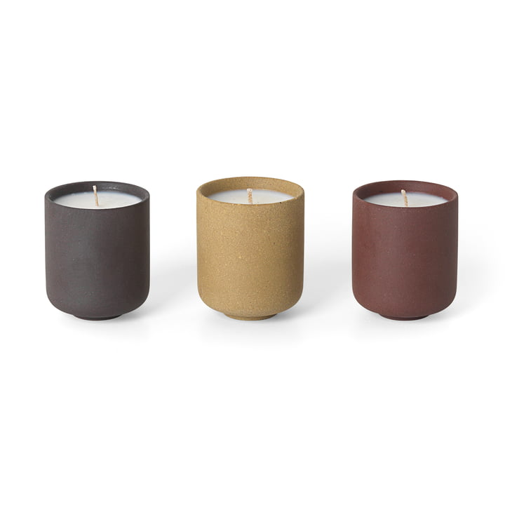 Die ferm Living - Sekki Soja Duftkerzen in rust / curry / charcoal im 3er-Set