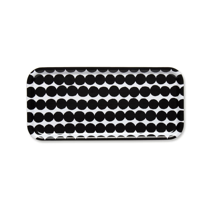 Räsymatto Tablett 15 x 32 cm von Marimekko in Schwarz / Weiß