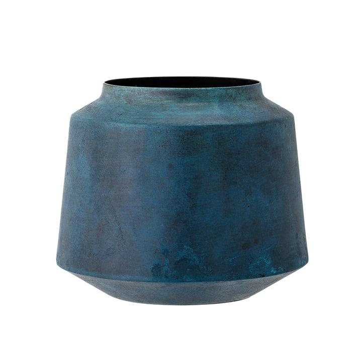 Bloomingville - Metall-Vase, H 15 cm, blau