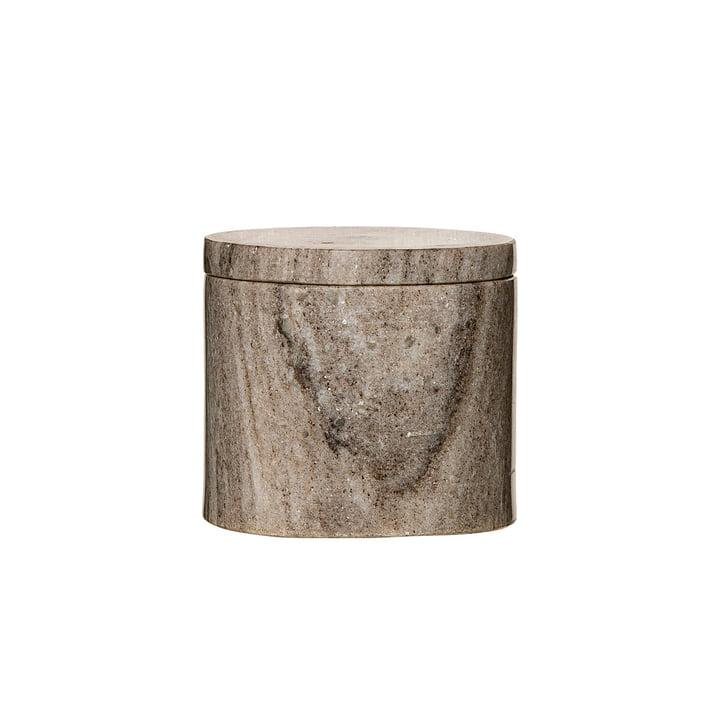 Aufbewahrungsdose mit Marmordeckel Ø 10 x H9 cm von Bloomingville in Marmor Sand