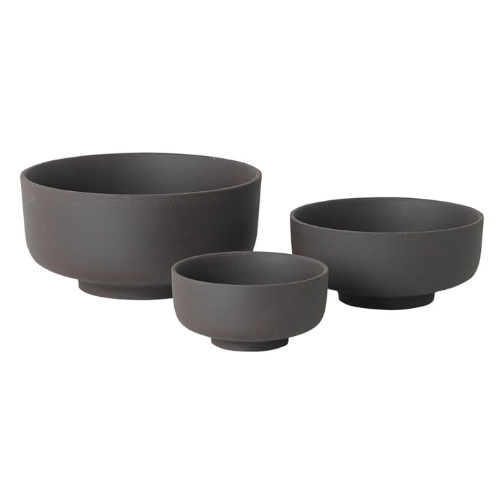 Sekki Schalen-Set (3 tlg.) von ferm Living in Charcoal