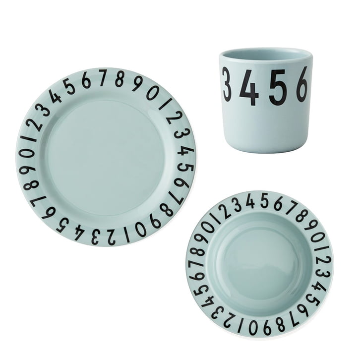 Melamingeschirr-Set The Numbers von Design Letters in Grün