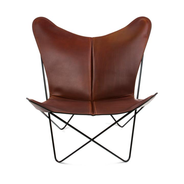 Ox Denmarq - Trifolium Chair, Stahl pulverbeschichtet, schwarz/ Leder cognac