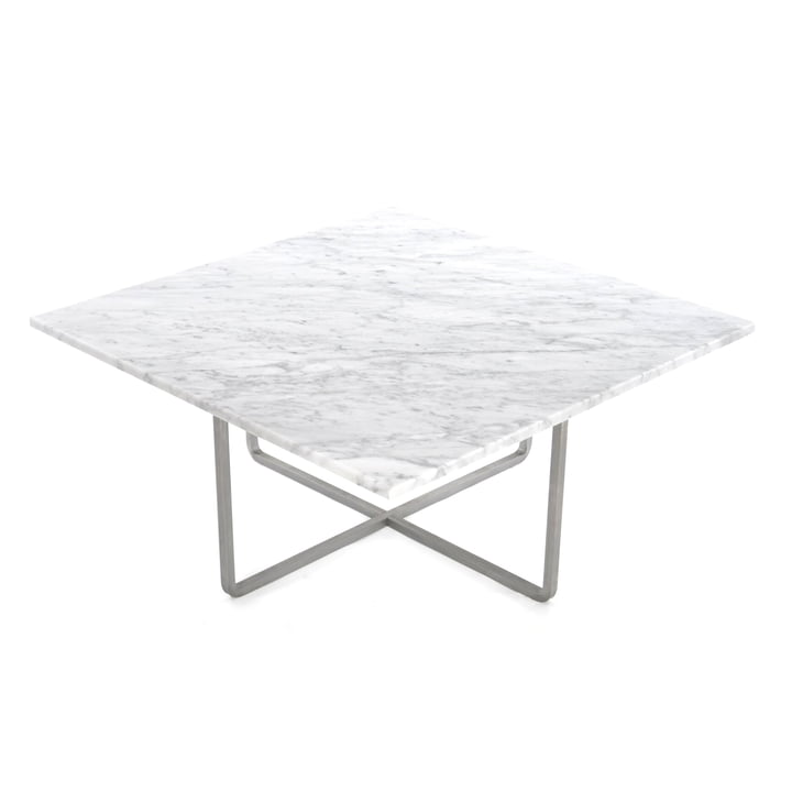 Ninety Couchtisch 80 x 80 cm von Ox Denmarq aus Edelstahl / Marmor Weiß