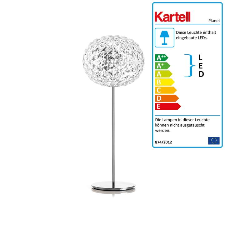 Die Kartell - Planet LED Stehleuchte mit Dimmer, H 130 cm / glasklar