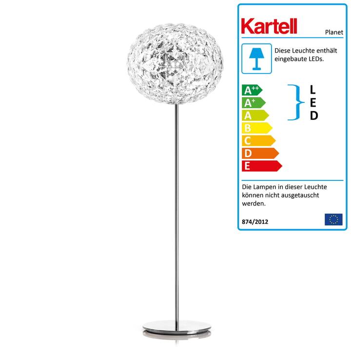 Die Kartell - Planet LED Stehleuchte mit Dimmer, H 160 cm / glasklar