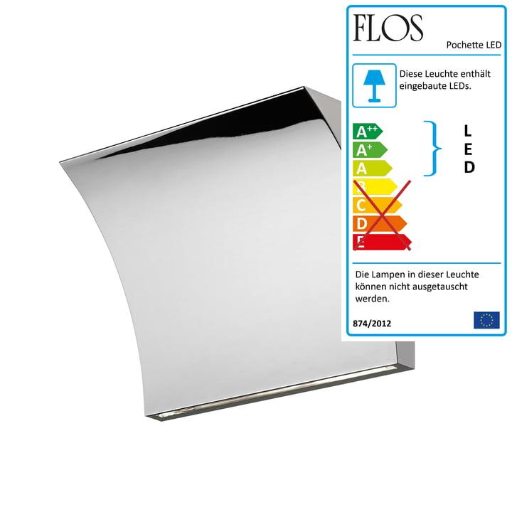 Pochette LED Up/Down Wandleuchte von Flos in Chrom